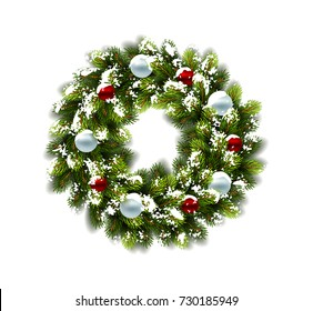 Christmas wreath in snow with balls on blue background. Vector Illustration