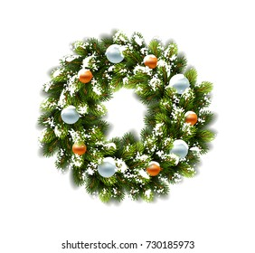 Christmas wreath in snow with balls on white background. Vector Illustration