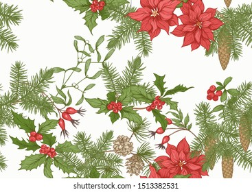 Christmas wreath of spruce, pine, poinsettia, dog rose, cowberry, cranberry, mistletoe, fir. Seamless pattern, background. Graphic drawing, engraving style. Vector illustration.