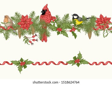 Christmas wreath of spruce, pine, poinsettia with winter birds: robin, cardinal, tit. Seamless pattern. Graphic drawing, engraving style. Vector illustration.