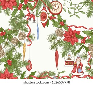 Christmas wreath of spruce, poinsettia, dog rose, cranberry, mistletoe with vintage decorations. Seamless pattern. Graphic drawing, engraving style. Vector illustration..