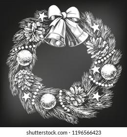 christmas wreath symbol of Christianity hand drawn vector illustration sketch, drawn in chalk on a black board