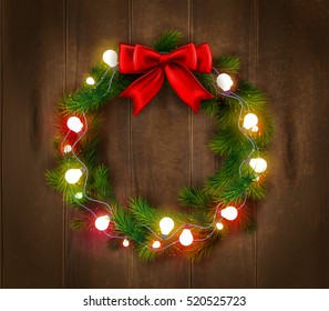 Christmas wreath template with light garland and red bow on wooden background isolated vector illustration