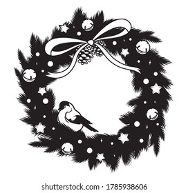 Christmas wreath with titmouse. Festive decor. Stylized Christmas wreath of fir branches with a bow. Symbol winter bird. Vector illustration nature decoration for a holiday card. Element for design.