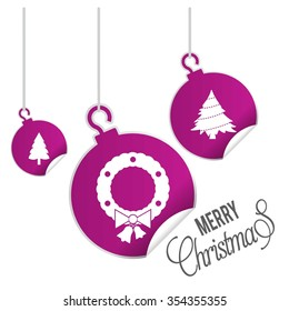 Christmas wreath with Tree cards. hanging balls with page curl effect set with Merry Christmas Creative typography isolated on white background