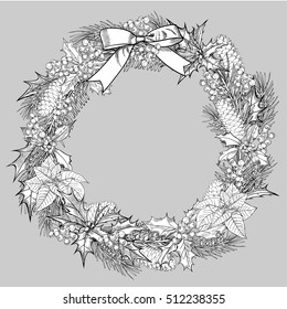 Christmas wreath. Vector greeting card, poster, banner.Christmas tree. Botanical hand drawn background. gifts, cones, poinsetiya, holly. holiday decor