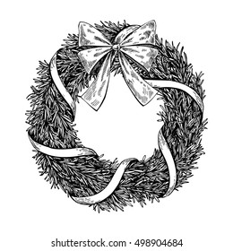 Christmas wreath. Vector hand drawn illustration with fir tree branches, bow and ribbon. Engraved traditional xmas decoration element. Great for greeting and invitation card, holiday banner, postcard