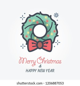 christmas wreath vector icon