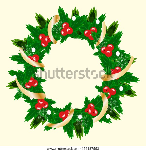 Christmas Wreath Vector.Christmas Wreath Vector Illustration Decorative Wreath Stock