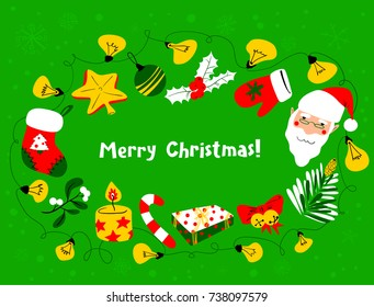Christmas wreath. Winter seasonal greeting frame  with Santa Claus. Merry Christmas lettering. Vector background with garland, sticking and mitten and gifts