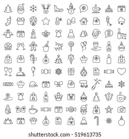 christmas xmas 100 new year winter celebration decoration symbol vector outline line black on white background icons set