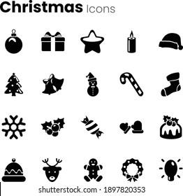 Christmas xmas celebration icon set
