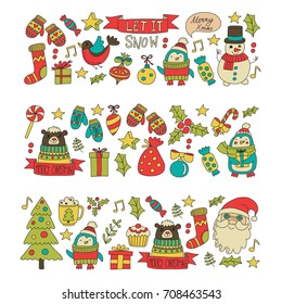 Christmas Xmas New year Christmas icons for backgrounds, decoration, patterns, cards, ornaments Doodle christmas tree with lights and balls New year celebration and party with bear and Santa Claus
