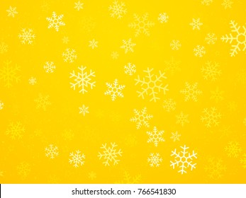 Christmas yellow background with snowflakes