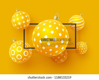 Christmas yellow baubles with geometric pattern. 3d realistic style with black frame, abstract holiday background. Vector illustration.