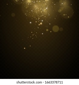 Christmas.cosmic dust. Glitter effect of particles. Gold is sparkling. Star dust sparkling particles on a transparent background. Vector illustration.magic.