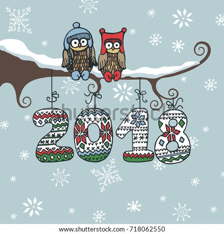 christmasnew year 2018 doodle greeting cardcartoon owl couple on branch knitted