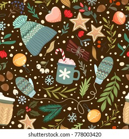christmass items seamless pattern. vector illustration
