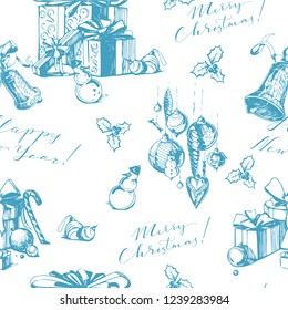 Christmass seamless background with holiday lettering