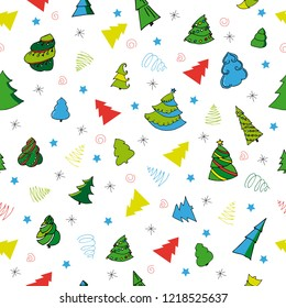 Christmass seamless pattern with christmass tree