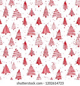Christmass tree seamless pattern. Vector illustration. Red and white. Hand drawn doodle sketch drawing with ink. Design for wrapping gift paper and backgrounds. Winter holiday season