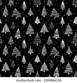 Christmass tree seamless pattern. Vector illustration. Black and white. Hand drawn doodle sketch drawing with ink. Design for wrapping gift paper and backgrounds. Winter holiday season