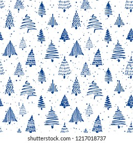 Christmass tree seamless pattern. Vector illustration. Blue and white. Hand drawn doodle sketch drawing with ink. Design for wrapping gift paper and backgrounds. Winter holiday season