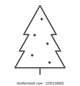 Christmass tree thin line icon. Fir-tree vector illustration isolated on white. Xmas decoration outline style design, designed for web and app. Eps 10