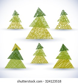 Christmass tree vector set, hand drawn lines textures used.