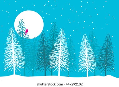 Christmas/winter scene featuring pine trees, snow and a lone cardinal