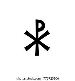 Christogram — Christian monogram of Jesus Christ, The Savior, The Lord Our God.  (Ancient Medieval monogram).