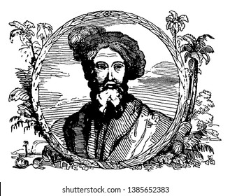 Christopher Columbus, 1451-1506, he was an Italian explorer, navigator, first governor of the Indies, and colonizer who discovered route to the Americas while in search of the Indies, vintage