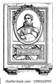 Christopher Columbus, 1451-1506, he was an Italian explorer, navigator, first governor of the Indies, and colonizer who discovered route to the Americas while in search of the Indies, vintage line dra