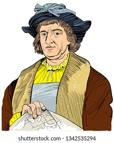 Christopher Columbus (1451-1506) portrait in line art illustration. He was Italian explorer, colonizer and navigator. He is remembered as the principal European discoverer of the America continent.