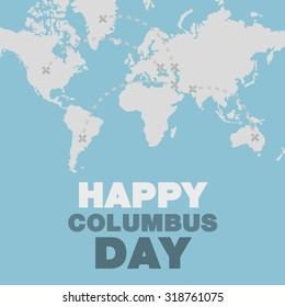 Christopher Columbus day poster map and ocean theme flat design art