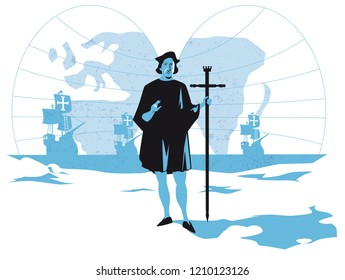 Christopher Columbus discovers America, vector illustration