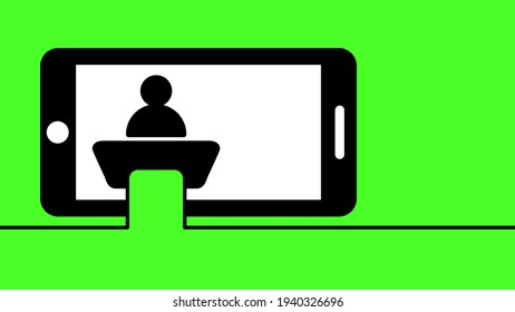 Chromakey, green screen background. lecture at a desk Lectern. Meeting on video conference. Chroma key studio tv concept. 1920, 1080 video format.