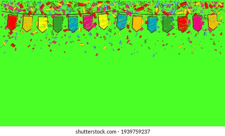 Chromakey, green screen background with many falling tiny colored confetti pieces and flags. Happy party. Chroma key studio tv concept. 1920, 1080 video format.