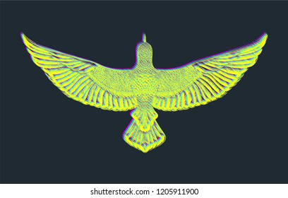 Chromatic aberration.Glitch art.Colorful bird.Flying dove.Chromatic aberration.Flying bird on black background. Fashion print for t shirt template.Printed tee.RGB colors.