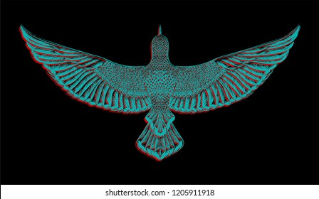 Chromatic aberration.Glitch art.Flying dove.Hand drawn bird on the black background.Graphic tee and printed tee. embroidery. Isolated illustration. Sketch for colorful tattoo and print t shirt.