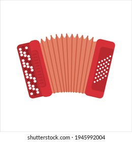 Chromatic Button Accordions or Russian Bayan. Vector red color Diatonic Melodeon. Cartoon Accordion, Harmonic or Jews-harp. Flat Folk Ethnic Musical Instruments isolated on white.