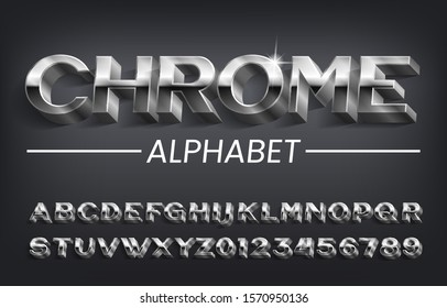 Chrome alphabet font. 3D effect oblique metallic letters, numbers and symbols with shadow. Stock vector typescript for your design.