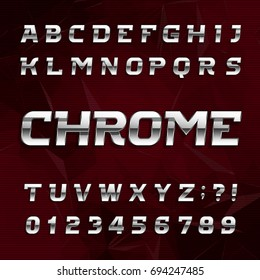 Chrome alphabet font. Metallic effect oblique letters and numbers on an abstract background. Stock vector typeface for your design.
