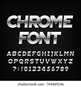 Chrome alphabet font. Metallic effect oblique letters and numbers on a dark background. Stock vector typeface for your headers or any typography design.