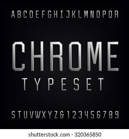 Chrome Alphabet Font. Type letters, numbers and punctuation marks. Beveled metal effect symbols on dark background. Vector typeset for headlines, posters etc.