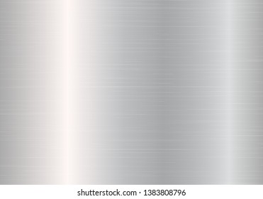 Chrome background with metal texture. Vector illustration with light effect.