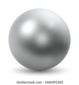 Chrome Ball Realistic Vector Illustration Isolated on White Background.