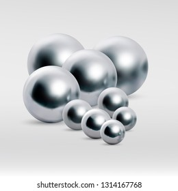 Chrome ball variations isolated on white background.