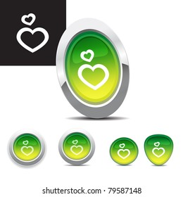 Chrome Button set - heart symbol