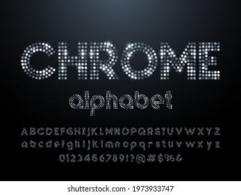 Chrome dotted glittering style alphabet design with uppercase, lowercase, numbers and symbols